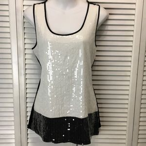 Dana Buchman sequin tank black white Medium